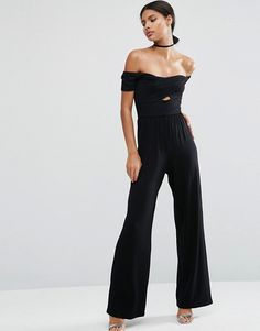 ASOS | ASOS Jersey Jumpsuit with Wrap Bardot and Twist with Wide Leg