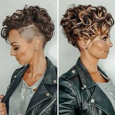 Short Curly Hair with Shaved Sides and Bangs - Best Hairstyles For Short Curly Hair: Easy and Cute Short Haircuts For Women with Curly Hair hair color 63 Cute Hairstyles For Short Curly Hair Women Guide) Curly Pixie Haircuts, Haircuts For Curly Hair, Curly Hair Cuts, Short Curly Cuts, Curly Hair Shaved Side, Pixie Short Curly Hair, Shaved Sides Pixie, Shaved Side Haircut, Half Shaved Head