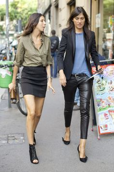 It takes a confident and styled assured woman to wear leather skinnies while with a girl in a mini skirt.