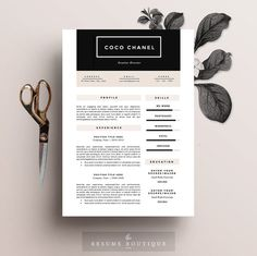"Resume Template 4 page pack | CV Template + Cover Letter for MS Word | Instant Digital Download | The ""High-End Street"""