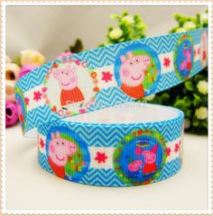 147208 ,22mm 10 yards Cartoon Pig Series printed grosgrain ribbon,Clothing accessories,DIY jewelry wedding package
