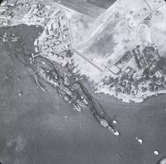 Aerial view of 'Battleship Row', Pearl Harbor, Oahu, US Territory of Hawaii, 10 Dec 1941