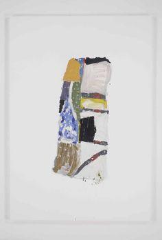 "Richard Aldrich, Untitled, 2011. Oil, wax, enamel and charcoal on linen, 84x58"""