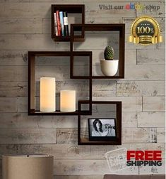 SHELVING Floating Shelves Wall Mount Intersecting Squares Shelf Hanging Espresso #SHELVINGSOLUTION