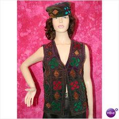 Vintage 1960 1970 Velvet Waistcoat Size 12 14 Emerald Gold Red Hippy on eBid United Kingdom