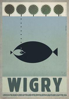 Wigry, Polish Promotion Poster by Ryszard Kaja #wigry #poland #poster #polska #pologne #ryszardkaja #seeuinpoland #visitpoland