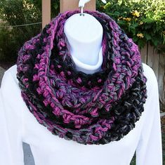 INFINITY SCARF Loop Cowl..Black, Dark & Light Gray Grey, Raspberry Pink Thick Soft Crochet Knit Winter Bulky Circle..Ready to Ship in 5 Days on Etsy, $22.00