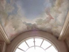 Cloudy ceiling. Clouds. Sky. Pastel.
