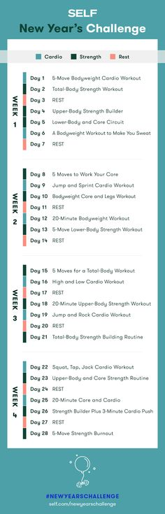 Welcome to our #NewYearsChallenge! Follow this workout plan for total body strength and cardio workouts for women!
