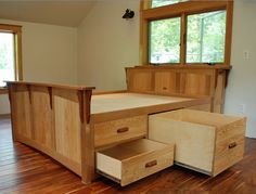 Bed With Built In Storage by Tazwood. The design challenge was to build a queen size bed with storage using wood matching existing windows. Home Bedroom, Bedroom Furniture, Home Furniture, Furniture Design, Bedrooms, Wicker Furniture, Furniture Online, Kitchen Furniture, Furniture Sets