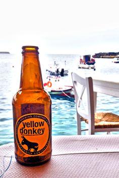 Santorini's Yellow Donkey Beer - Ammoudi Port - Oia