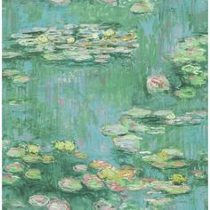 Seabrook Designs Lily Pads Metallic Green, Teal, and Pink Paper Strippable Roll (Covers 56.05 sq. ft.), Metallic Green/ Teal and Pink