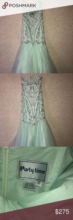 Size 8 partytime mermaid style prom dress! Size 8 (fits more like a 6) mint blue Partytime dress. Only worn once! Party Time Formals Dresses Prom