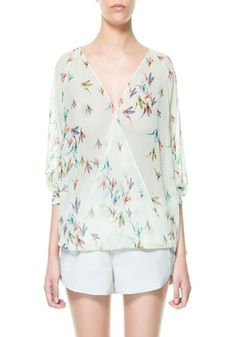 White Bird Print V-neck Seven's Sleeve Chiffon Blouse