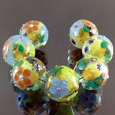 PIKALDA=handmade lampwork 7 glass beads flower blossom garden=LEMON GREEN=SRA