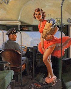 """A Fare Loser"" by Art Frahm Vintage Pin Up Girl Illustration Pin Up Vintage, Photo Vintage, Retro Pin Up, Pin Up Illustration, Girl Illustrations, Gil Elvgren, Comics Vintage, Vintage Posters, Pin Up Girls"