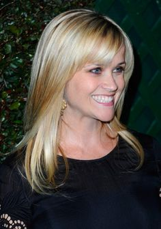 long, straight, blonde hair with bangs - @Fallan King Hillier Robertson, I think I want bangs again....  ;)