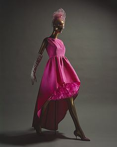 Cristobal Balenciaga: Evening dress , late 1950s. It is a beautiful pink dancing dress. It makes me feel flexible and comfortable and want to dance and party . (28.10.13)
