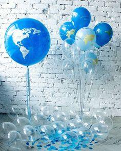 Наши новиночки. Большой земной шар и маленькие шарики с континентами. ___________________________ Доступны к заказу. Пишите/звоните (WP, Viber) +7 981 854 59 69 #шарынаденьрождения #шарикиспб #шарыспб #шарыдоставкаспб #толстыйангел