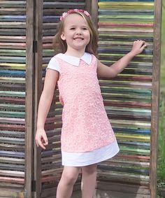 Look what I found on #zulily! Coral Pink Daisy Sheath Dress - Toddler & Girls #zulilyfinds