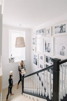 Staircase Gallery Wall also the stair rail! Staircase Wall Decor, Stair Walls, Staircase Makeover, Staircase Design, New Staircase, Small Bedroom Designs, Hallway Designs, Stairway Gallery Wall, Gallery Walls