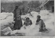 A REALISTIC SCENE: NATIVES COOKING FOOD IN THE ARTIFICIAL HOT SPRINGS IN THE EXHIBITION GROUNDS 1905