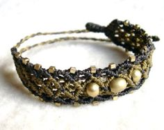 Macrame golden Brass Bracelet Ethno Hippie gold brown Goa Makramee Made to Order