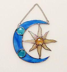 Moon and Sun Stained Glass Suncatcher Celestial Decor