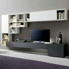 35 Beautiful and Attractive Bookshelf Design Ideas That Can Make Your Home Look Neater – Interiors Ideas Contemporary Tv Units, Modern Tv Units, Modern Tv Wall, Living Room Modern, Home And Living, Tv Wall Design, Bookshelf Design, House Design, Design Case