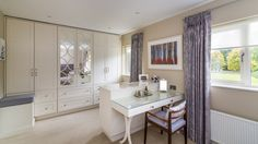 Master bedroom suite with custom made wardrobes, dressing table & curtains