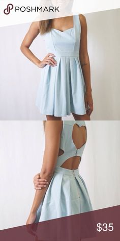 CLASSIC MINT HEART BACK MINI DRESS Mint mini dress with a heart cut out back, super cute and super trendy. Pleated in the front, looks super cute with a pair of heels and a necklace! Have any questions? I bet I have answers so feel free to ask!! Dresses Mini