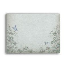 Vintage Floral Blue Wedding Envelopes