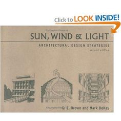 Sun, Wind & Light: Architectural Design Strategies.  This book was written by Charlie Brown, the super old king professor of sustainable design at UO.  Reading it is a strict prerequisite to being in the In-Crowd around here.