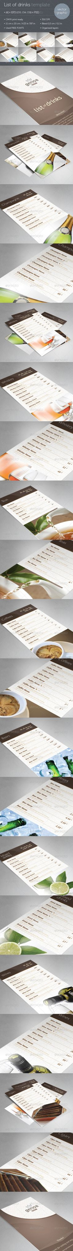 Genoa List of Drinks Template  #cocktails template #minimal #list of drinks • Click here to download ! http://graphicriver.net/item/genoa-list-of-drinks-template/2798372?s_rank=272&ref=pxcr