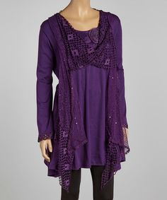 Look what I found on #zulily! Purple Crochet Layered Linen-Blend Tunic - Plus by Pretty Angel #zulilyfinds