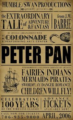 Now wish I could go back to 2006! Peter Pan made it's way back on stage for the 100th anniversary.