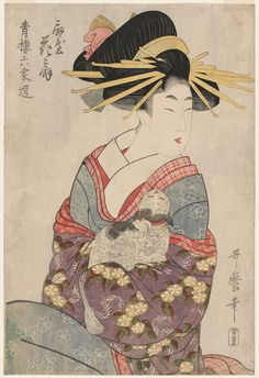 Hanaôgi of the Ôgiya, from the series Selections from Six Houses of the Yoshiwara (Seirô rokkasen).Japanese, Edo period, about Artist Kitagawa Utamaro I (Japanese, Japanese Folklore, Japanese Geisha, Japanese Drawings, Japanese Prints, Art Indien, Japanese Bobtail, Geisha Art, Traditional Japanese Art, Art Asiatique