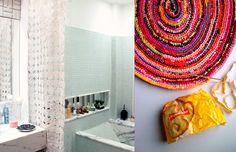 Cortina e Tapete de croché feitos com sacos plásticos // DIY Crocheted Curtain and Rug made with plastic bags.