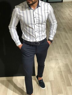 Shirt outfit men - Yes or No gentwithcasualstyle Wira Slim Fit Striped Shirt White Formal Dresses For Men, Formal Men Outfit, Formal Shirts For Men, Men Shirts, Indian Men Fashion, Mens Fashion Suits, Men's Fashion, Men's Formal Fashion, Blazer Outfits Men