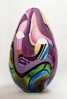 Studio Jeffrey P'an Love this new piece! Porcelain Ceramics, Ceramic Art, Glass Vessel, Glass Art, Egg Art, Glass Animals, Glass Paperweights, Office Gifts, Hand Blown Glass