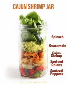 Cajun Shrimp Salad: Find more mason jar salads here: http://lexiscleankitchen.com/2014/08/08/healthy-food-friday-spinach-mason-jar-layered-lunches/  #Whole30 #Whole30Recipes #Lexiscleankitchen