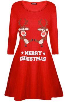 1abee1165e85 New Womens Ladies Christmas Xmas Flared Dancing Reindeer Santa Swing Mini  Dress#Xmas#Flared