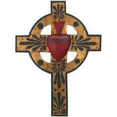 Painted Sacred Heart Mexican Cross