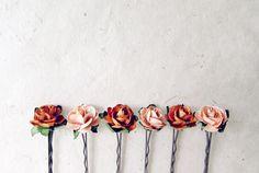 Autumn Rose Hair Pins. Set of 6 Paper Flower Bobby by PiggleAndPop