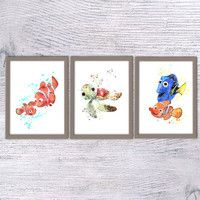Nemo Watercolor print, Finding nemo, Disney animation, Set of 3, Nursery art, nemo wall art, Art print, Marlin and Nemo, Dory, Sheldon, V38