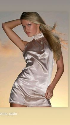 Satin Gown, Satin Slip, Satin Fabric, Silk Satin, Slip Dresses, Short Dresses, Female Supremacy, Blonde Model, Satin Blouses