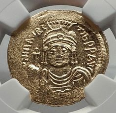 MAURICE TIBERIUS Authentic Ancient Byzantine GOLD Solidus Coin NGC MS i65209