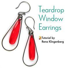 Teardrop Window Earrings Tutorial | Teardrop Earrings DIY | Simple Hoop Earrings | Simple Hoop Earrings DIY
