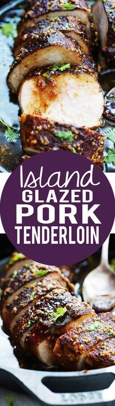 Island Glazed Pork Tenderloin - easy 30 minute juicy pork tenderloin with a sweet and spicy island-inspired glaze!