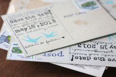 Vintage postcards save the dates